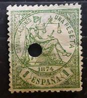 ESPANA ESPAGNE SPAIN 1874, Regence ,  Yvert No 148, Una Peseta Vert  Obl  TÉLÉGRAPHE TELEGRAFO TB - Oblitérés