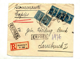 Lettre Recommandée Strasbourg Sur Semeuse - Manual Postmarks