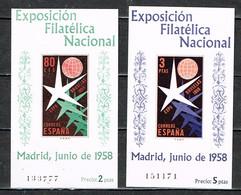 "Spanien / Espana 1958 , "" Exposicion Philatelica Madrid "" Mi. Block 13 + 14  Postfrisch / MNH / Neuf - 1951-60 Unused Stamps"
