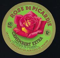 """étiquette Fromage Camembert Extra 45%mg Rose De Picardie """"LCV"""" Laiterie Coop Agricole De Verton 62F  Fleur Rose - Cheese"""