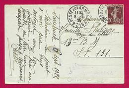 """Écrit Sur Carte Postale Daté De 1925 - Occupation Alliée - Oblitération """"Poste Aux Armées - Secteur Postal 219"""" - Zona Francesa"""