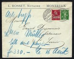 SUISSE 1918: LSC Entier De 5c De Montreux Pour St Imier, Affr. Compl. De 10c - Postwaardestukken