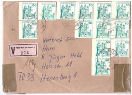 WERTBRIEF MIT 10 GANZSACHENAUSSCHNITTEN  P 126 , SELTEN; GELAUFEN  1985, - Brieven En Documenten
