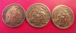 France. 3 Pièces De 50 Centimes 1927, 1928, 1929. Commerce & Industrie. Années Rares - G. 50 Centimes