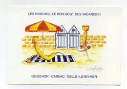 CP Pub Neuve. Les Niniches, Le Bon Goût Des Vacances. Quiberon, Carnac, Belle-Ile-en-Mer. Confiserie Les Niniches. Plage - Advertising
