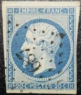 N°14A Napoléon 20c Bleu. Oblitéré Losange PC. N°687 Calvi - 1853-1860 Napoléon III