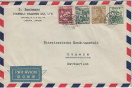 Japan - 100 En. Freimarke U.a. Luftpostbrief I.d. SCHWEIZ Osaka - Luzern 1950 - Sobres