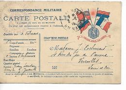 Guerre 14 18 CHAUMONT Haute Marne Sur Carte Aux Drapeaux Cachet Violet Train Sanitaire Improvisé 1915          ...G - WW I