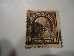 UNITED STATES USA USED STAMPS PERFINS 1 DOLLAR 2 SCAN - Perforados