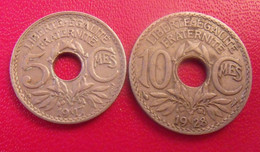France. Lot De 2 Pièces 5 Centimes 1917 Et 10 Centimes 1928. Lindauer. Années Rares - D. 10 Centimes