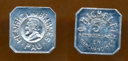 JETON // PAU (Pyrénnées Atlantique)// MICHELET / EPICIER // Cinq Centimes - Monetary / Of Necessity