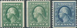 United States,U.S.A,1914 George Washington-Coil Stamps,1C X2 Green Perf:10 Horizontally & 5C Blue Perf:10 Vertically - Unused Stamps