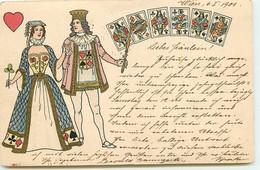 N°16967 - Couple Avec Des Cartes à Jouer Sur Leurs Vêtements - Speelkaarten