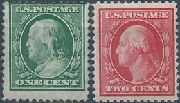Stati Uniti D'america,United States,U.S.A,1908 Benjamin Franklin E George Washington,1C & 2C,Perf 12 - Unused Stamps