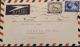 O) 1948 SOUTH AFRICA, MARRIAGE KING GEORGE VI AND QUEEN ELIZABETH, GNU SUID AFRICA, AIRMAIL LUGPOS, TO USA - Autres