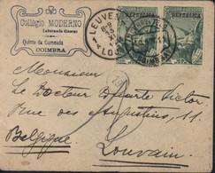 YT 187 Portugal Correios Surcharge Republica Entête Collegio Moderno Coimbra CAD Coimbra 10 NOV 11 Arrivée Leuven - Brieven En Documenten