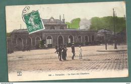 184-VERSAILLES-  La Gare Des Chantiers- Statie Bahnhof- Attelage -couleurs- 2 Scans - Versailles