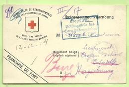 """Kriegsgefangenens. """"Croix-Rouge"""" BRUSSEL 19/4/11/14 Naar """"Couturier Luitenant MAGDEBOURG"""" Doorverz. BURG GEPRUFT (2440) - Krijgsgevangenen"""