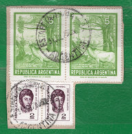 64 Argentina 1974-75 Yvert 991 Y 992 X 2 Usados En Pareja Horz. En Fragmento - Neufs