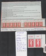 TI DE FRANÇE  NEUF **/1993 Nr 2796 ** X 2 TIMBRES VARIETE 2 BANDES A DROITE TENANT A 1 BANDE A DROITE   COTE  27.00   € - Curiosities: 1990-99 Mint/hinged