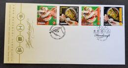 Hong Kong Romania Joint Issue Handicraft 2011 Painting Art Lion Dance Egg Craft Culture (joint FDC) *dual PMK - Cartas