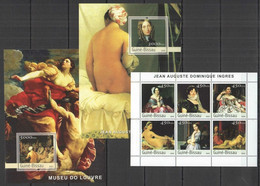 NS355 2003 GUINEA-BISSAU EROTIC ART PAINTINGS LOUVRE MUSEUM INGRES 2BL+1KB MNH - Other