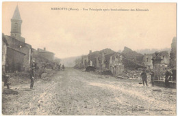 MILITARIA GUERRE 14/18 MARBOTTE MEUSE : RUE PRINCIPALE APRES LES BOMBARDEMENTS ALLEMANDS DE LA GRANDE GUERRE - Guerra 1914-18