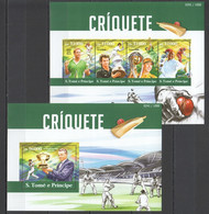 ST1517 2015 S. TOME E PRINCIPE SPORTS CRICKET CRIQUETE 1KB+1BL MNH - Cricket