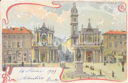 Italie Turin (Torino) - Place Saint-Charles (Piazza San-Carlo) église 1903-02-14 Couleur TB - Plaatsen & Squares