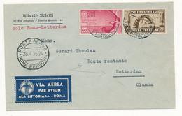 1936 VOLO ROMA ROTTERDAM CON 0,60 PA ORAZIO + 0,30 FIERA MILANO. ARRIVO AL VERSO - Poststempel