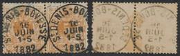 """émission 1869 - N°28 En Paire Obl Simple Cercle """"St-Denis-Bovesse"""" - 1869-1888 Liggende Leeuw"""