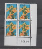 FRANCE / 2004 / Y&T PREO N° 248 ** : Orchidée Insulaire 0.39€ - 3ème Série (1 TP) X  4 - Coin Daté 2004 08 12 - Prematasellados
