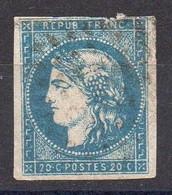 France -Bordeaux 20c Bleu YT N°44B -Tp1-R2 - 1870 Emisión De Bordeaux