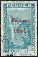 Réunion Obl. N° 228 - Vue -> Bras Des Demoiselles - 1f40 Bleu-vert Surchargé France Libre - Gebruikt