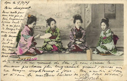 4 Jeunes Japonaises Dans Leur Interieur Colorisée RV Beau Timbre 10 Indochine Beau Cachet ESPERAUSSES  TARN - Zonder Classificatie