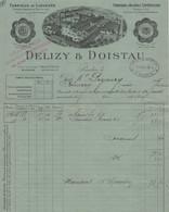 DELIZY & DOISTAU, LIQUEURS, ABSINTHE, ALCOOLS SUPERIEURS PANTIN (93) Facture Cachet Du 12/08/1904 (GRAND PRIX EXPO 1904) - Food