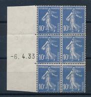 DX-451: FRANCE: Lot Avec Coin Daté à Gauche Du N°279 Du 6/4/33 (gomme 2ème Choix) (bloc De 6 Timbres) - 1930-1939