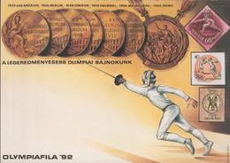 Hungary Upfranked Postal Stationary 1992 Olympiafila 92 Used (G119-63) - Expositions Philatéliques