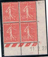 50c Semeuse Lignée Yvert 199, AA De AA+A Du 11-2-29, ** - ....-1929