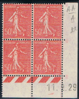 50c Semeuse Lignée Yvert 199, A De AA+A Du 11-2-29, ** - ....-1929