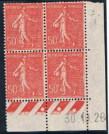 50c Semeuse Lignée Yvert 199, X De X+Y Du 30-10-28, ** - ....-1929