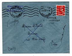 1940-Lettre De Fougères-35 Pour Vitré-35--type Mercure--cachet Krag --griffe Retour Envoyeur - 1921-1960: Modern Period