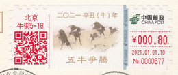 China 2021, ATM, Chinese New Year Of Ox On Postal Used Postcard, With Arrival Postmark - Brieven En Documenten