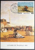 """Carte-maximum E. Boudin """"femme à L'ombrelle""""  Plage De Trouville - Cachet De Honfleur Du 23/05/1987 - 1980-89"""