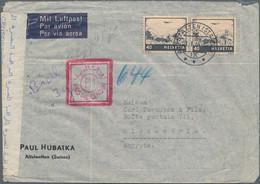 Ägypten: 1941-45 Four Censored Airmail Covers From Switzerland To Alexandria Bearing Different Egypt - Brieven En Documenten