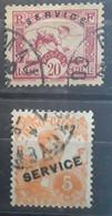 INDOCHINE SERVICE 1933 - 1934, 2 Timbres Yvert No 9 & 21, 20 C Rose Carmin Et 5 C Orange,  Obl TB - Autres