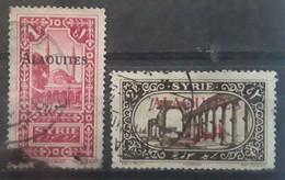 ALAOUITES 1925 ,2 Timbres  Yvert 26 Et 29, 1 Piastre Rose Lilas Et 2 Piastres Sepia,  Obl TB - Oblitérés
