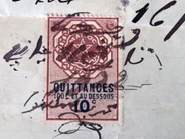 ✔️Timbre Fiscal Quittance 100fr Et Au Dessous 10c France(ex- Protectorat) Maroc (16/1/1922)Postes Locales & Chérifiennes - Sellos Locales