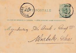 DDY 466 - Entier Lion Couché  Double Cercle ZELE 1880 (Cote COBA ZELE = 30 EUR S/détaché) Vers DC MOERBEKE(COBA 15 EUR) - AK [1871-09]