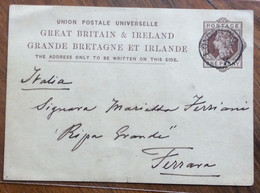 GRANDE BRETAGNE ET IRLANDE PORT CARD ONE PENNY DA LONDON A FERRARA ITALY IN DATA 23/7/81 - Briefe U. Dokumente